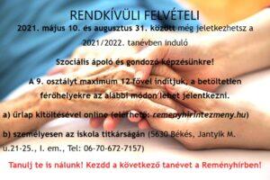 Rendkívüli felvételi a Reményhír Erdős Kamill Szakképző Iskolájába